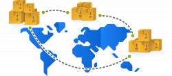 Boxes on a world map that portray inventory management