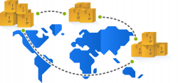 Inventory Management, with multi-warehouse management represented as boxes on a world map