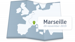 A map with a pinpoint at Marseille