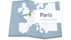 A map with paris on it